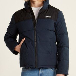 Levi's (Large) Dark Navy Spellout Puffer Jacket